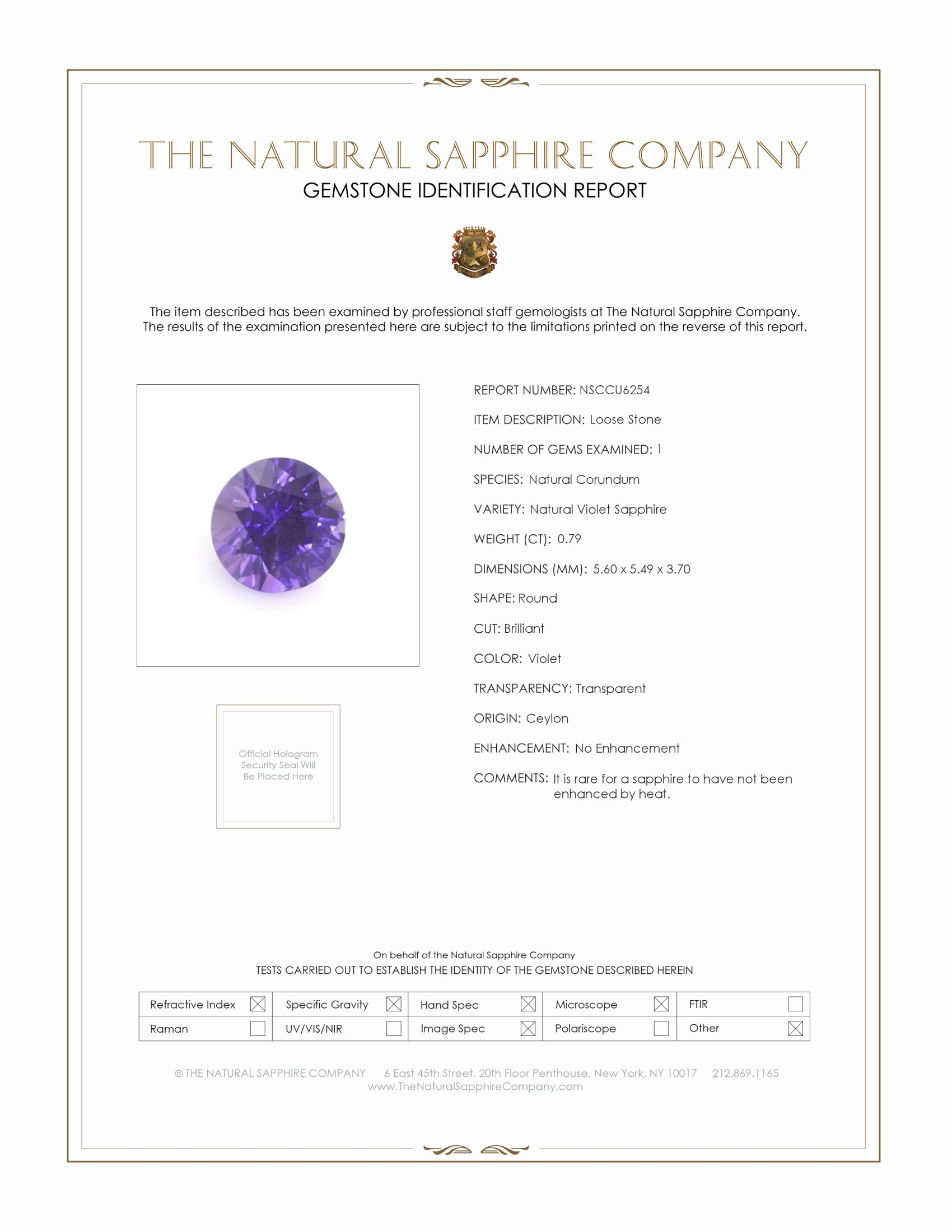 Natural Untreated Purple Sapphire U6254 Certification