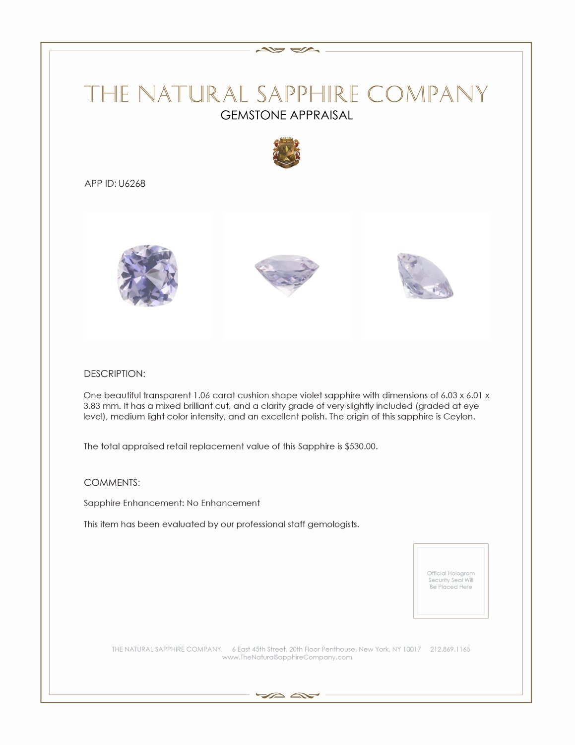 Natural Untreated Violet Sapphire U6268 Certification 3