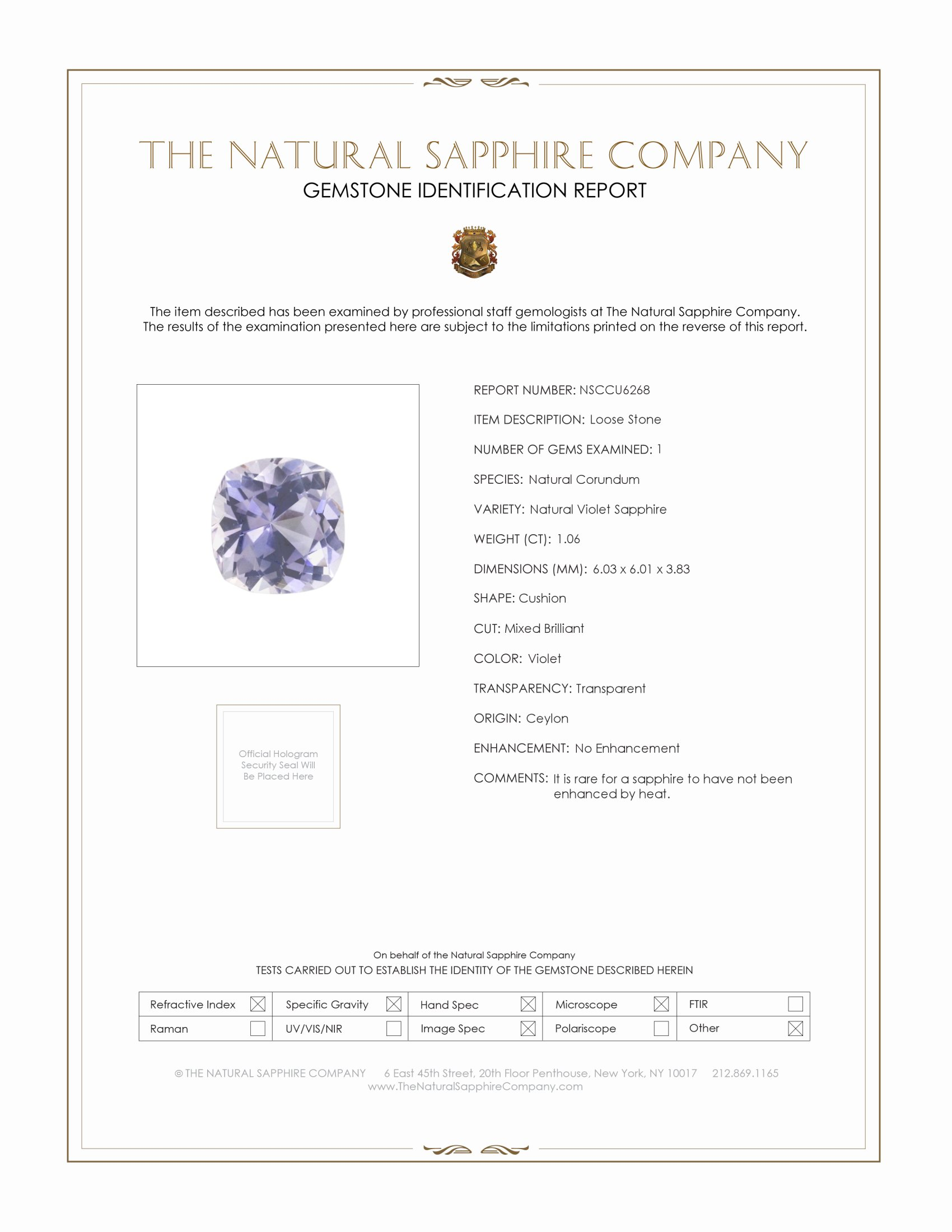 Natural Untreated Violet Sapphire U6268 Certification