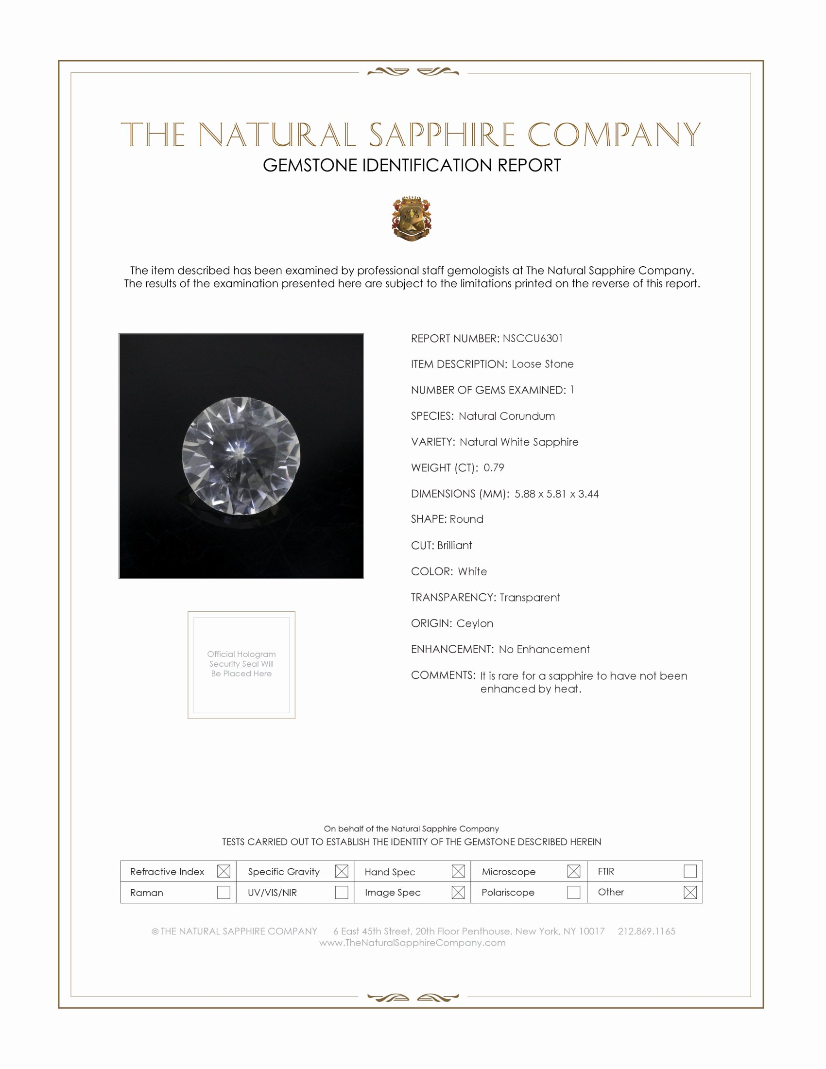 Natural Untreated White Sapphire U6301 Certification