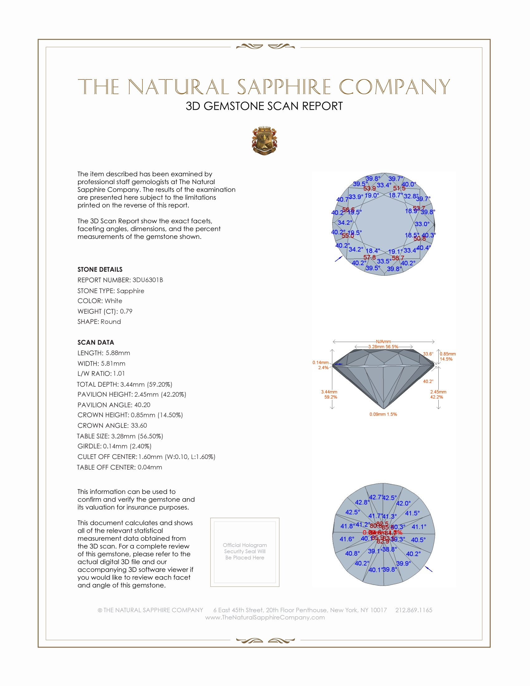 Natural Untreated White Sapphire U6301 Certification 2