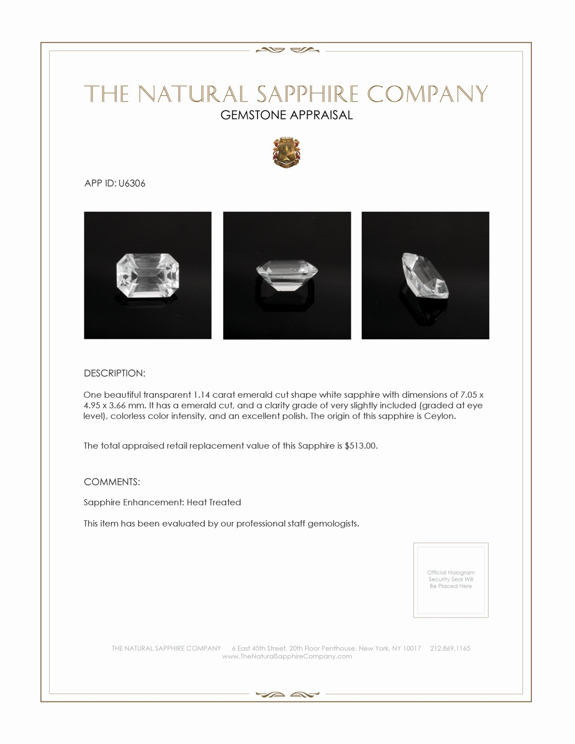 Natural White Sapphire U6306 Certification