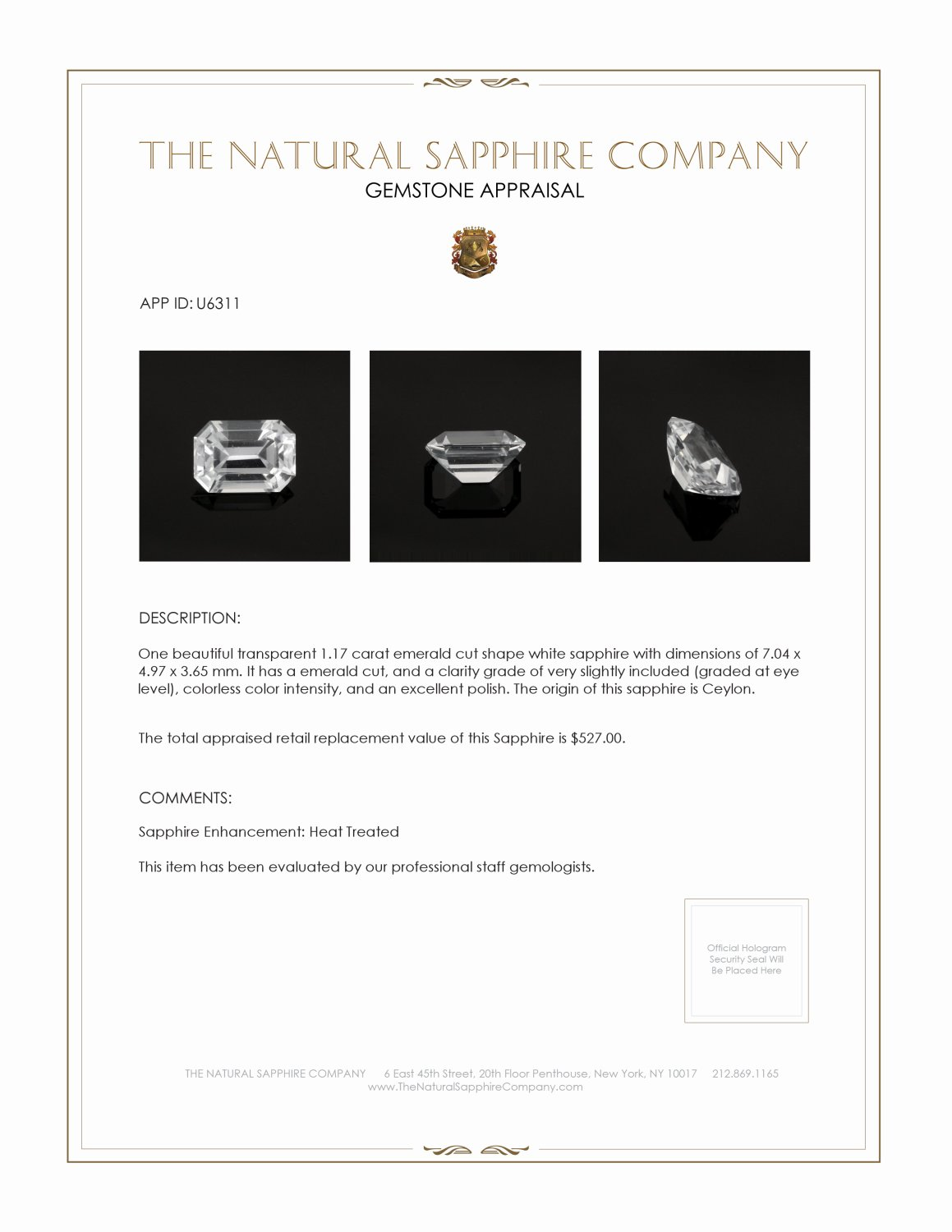 Natural White Sapphire U6311 Certification 3
