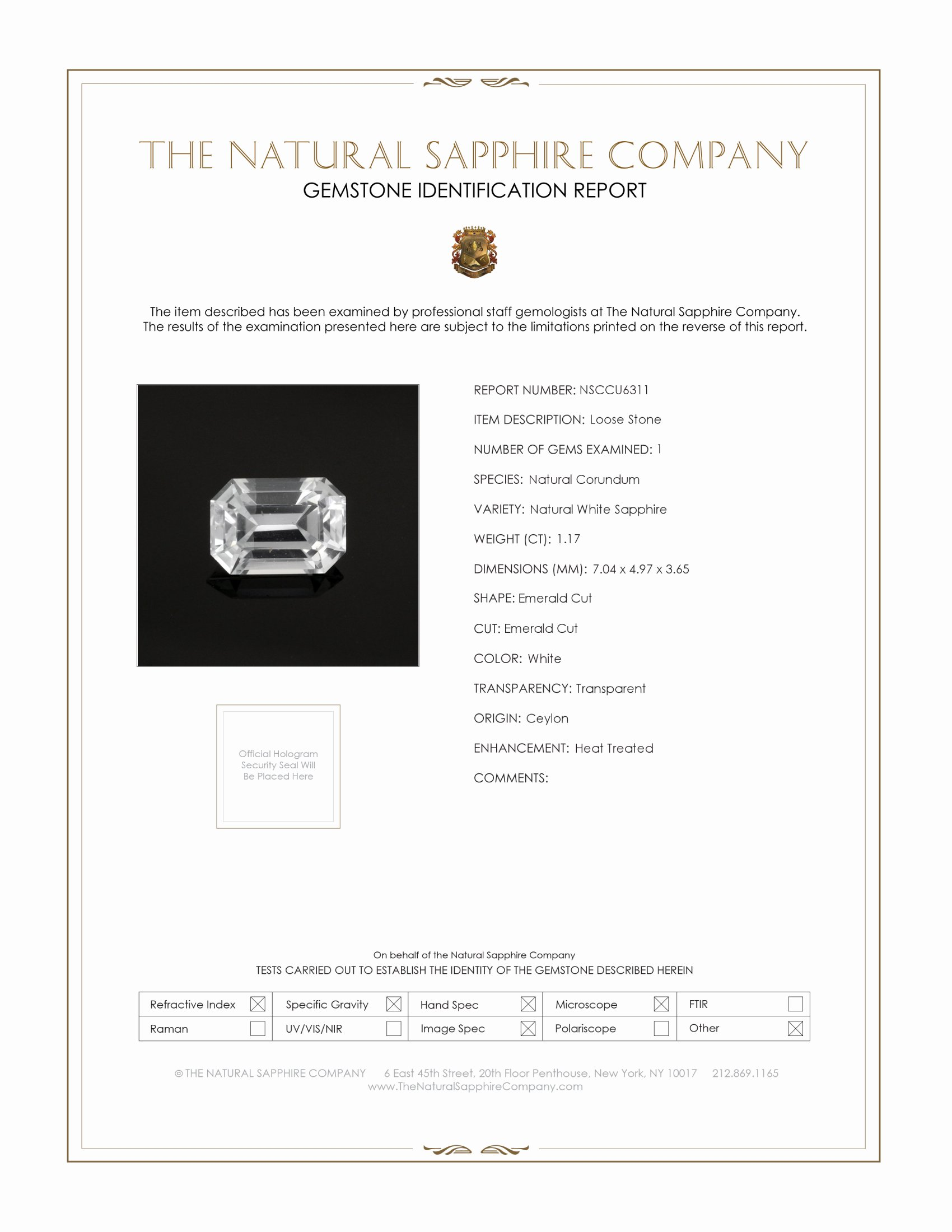 Natural White Sapphire U6311 Certification