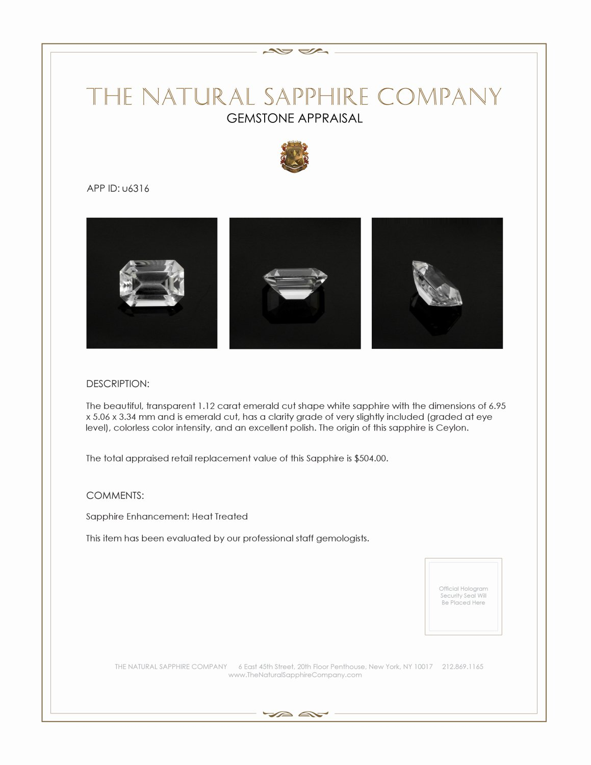 Natural White Sapphire U6316 Certification 3