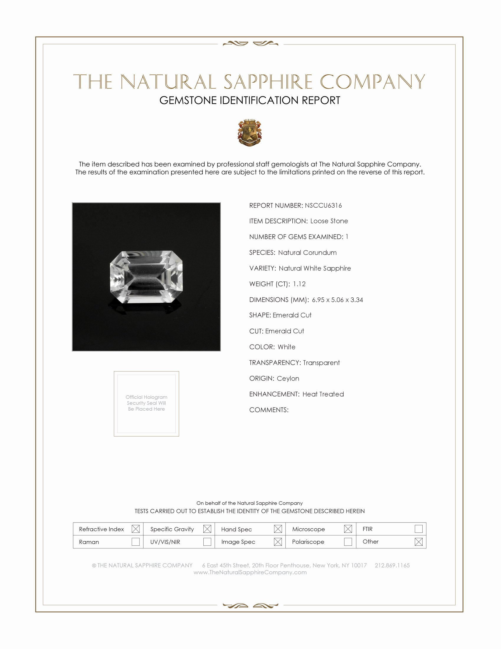Natural White Sapphire U6316 Certification