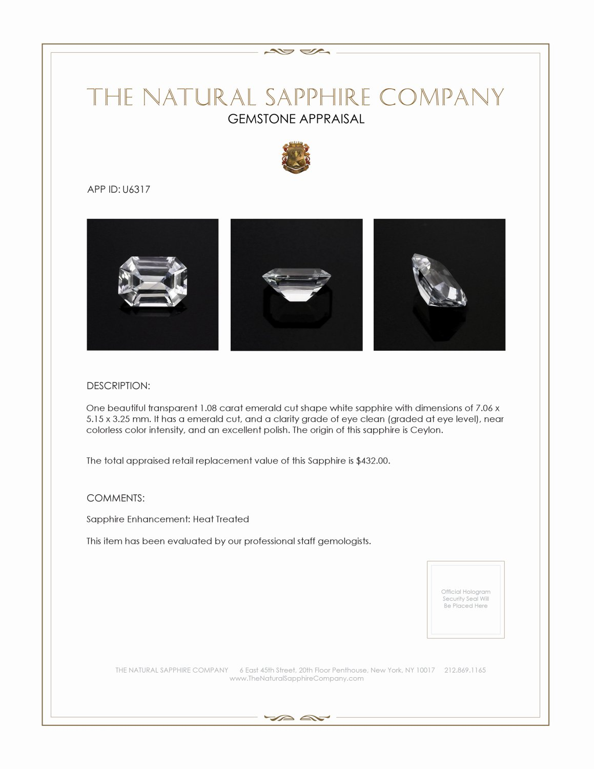 Natural White Sapphire U6317 Certification 3