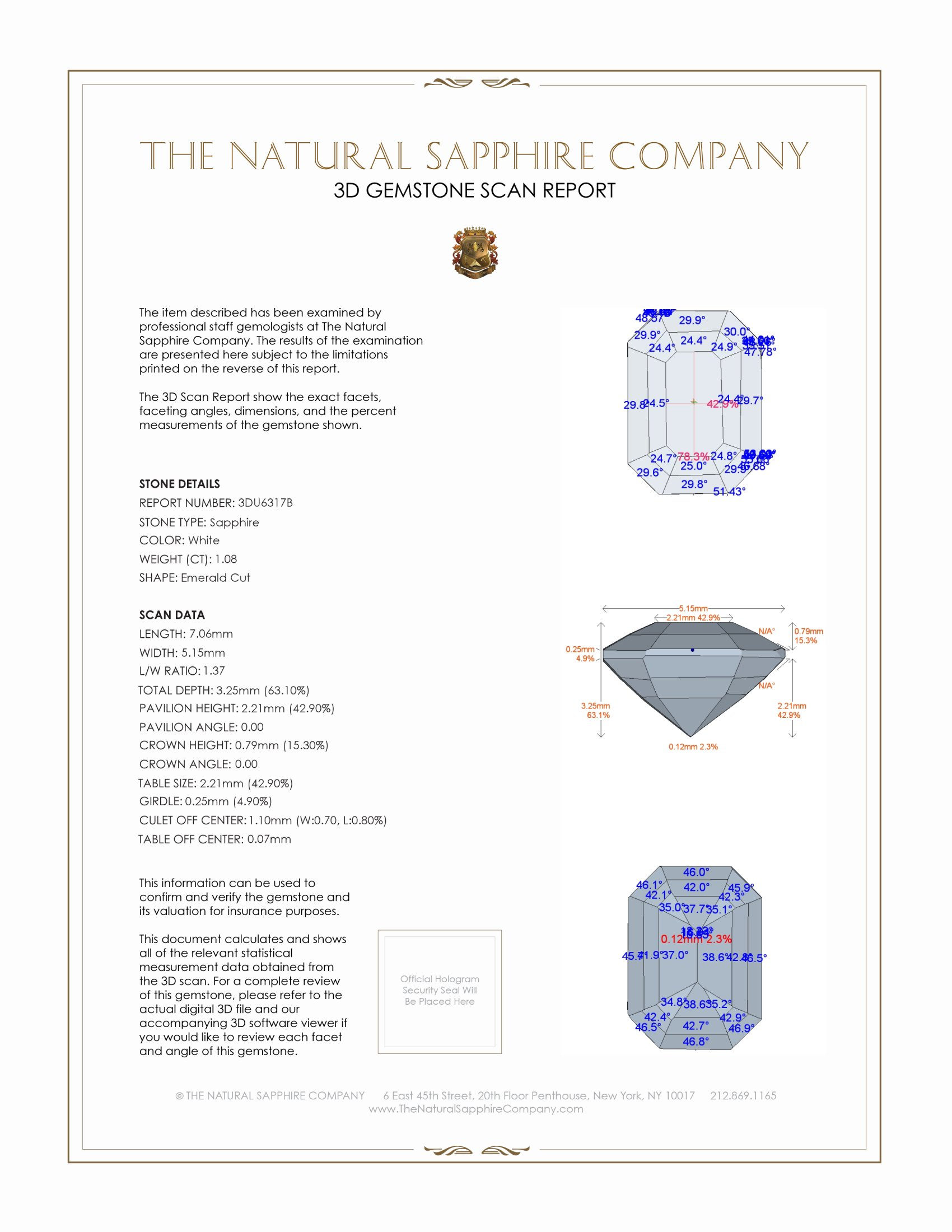 Natural White Sapphire U6317 Certification 2