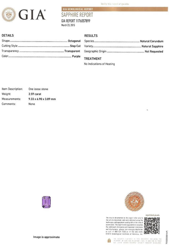 Natural Untreated Purple Sapphire U6325 Certification 3