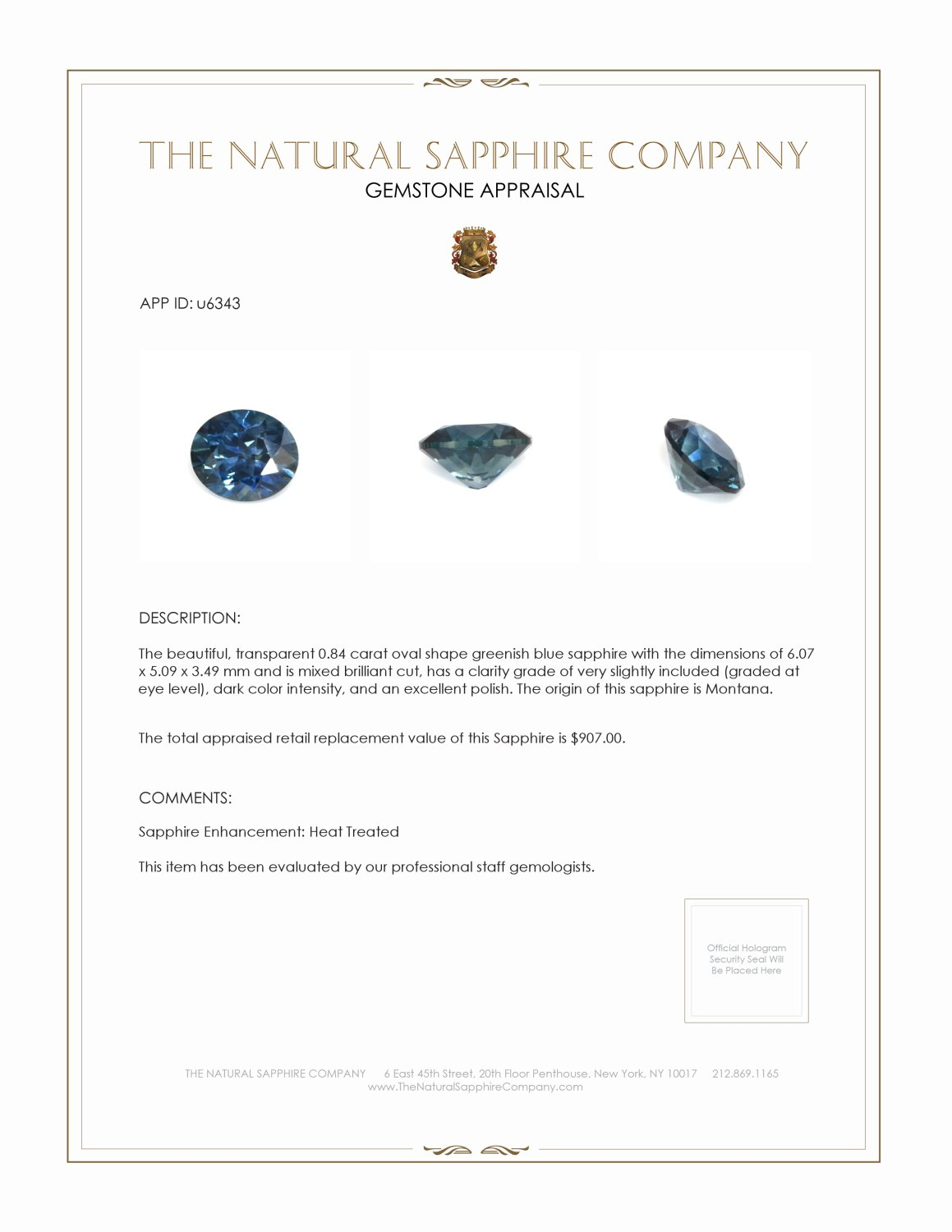 Natural Greenish Blue Sapphire U6343 Certification 3