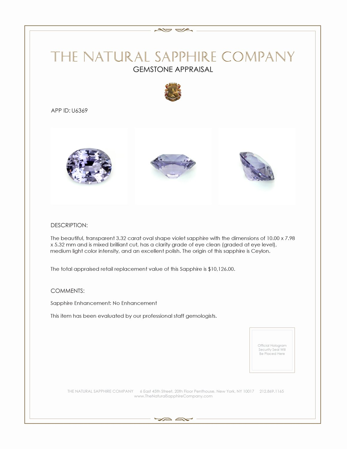 Natural Untreated Purple Sapphire U6369 Certification 3