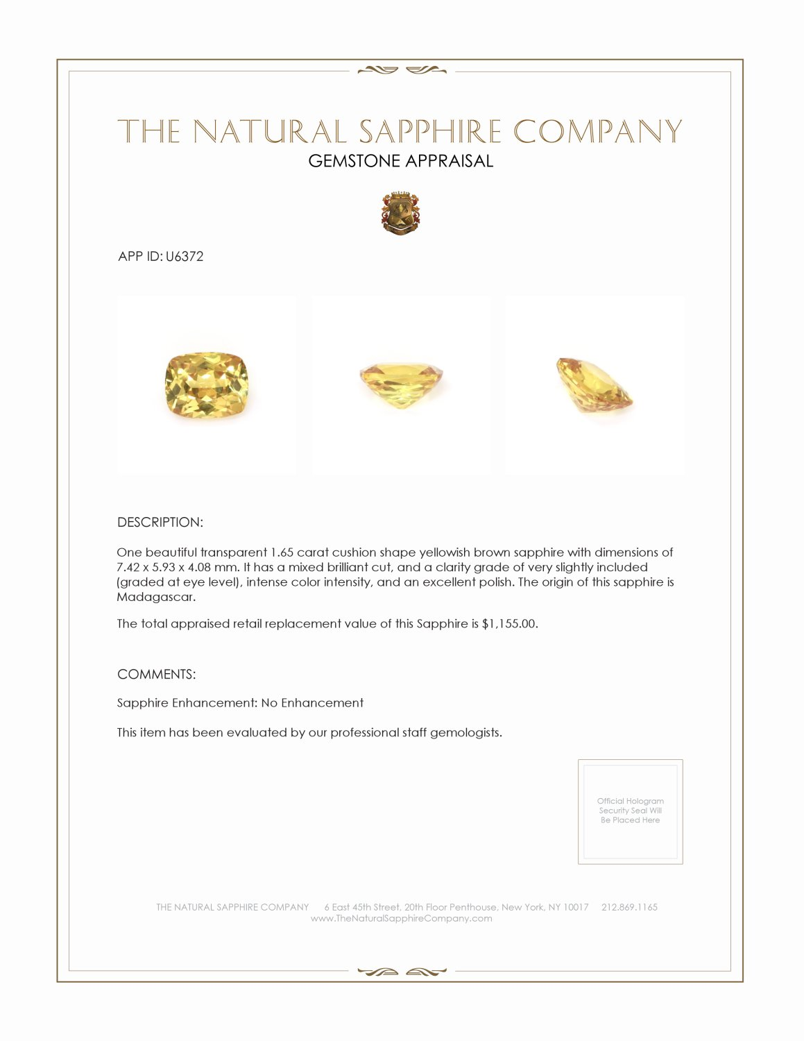 Natural Untreated Yellow Sapphire U6372 Certification 3