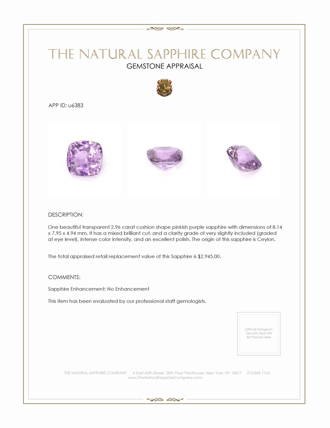 Natural Untreated Pinkish Purple Sapphire U6383 Certification 3