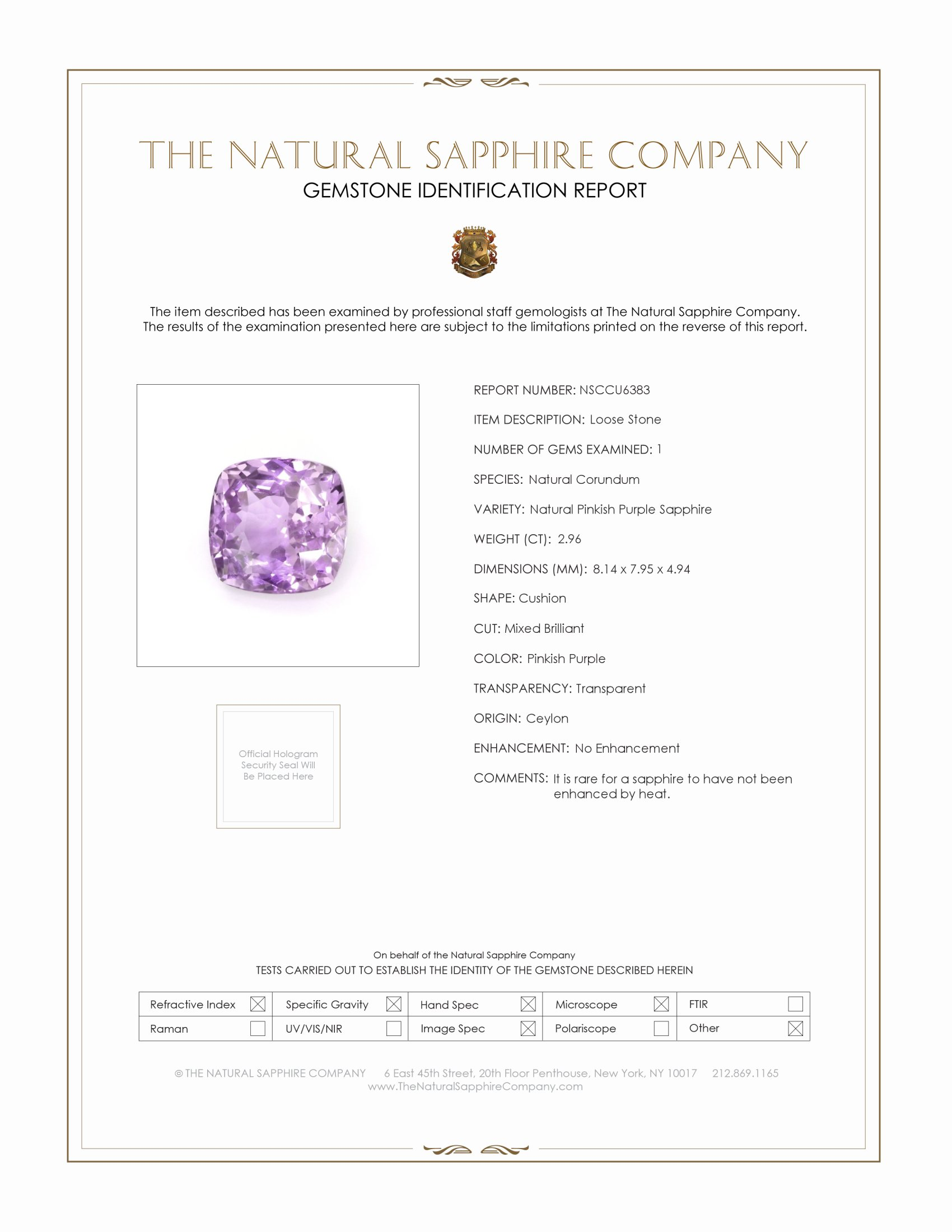 Natural Untreated Pinkish Purple Sapphire U6383 Certification