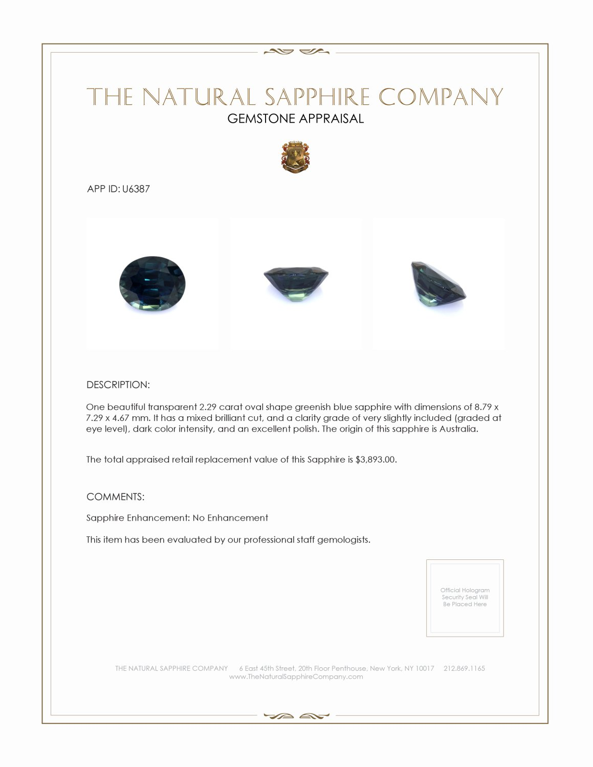 Natural Untreated Greenish Blue Sapphire U6387 Certification 3