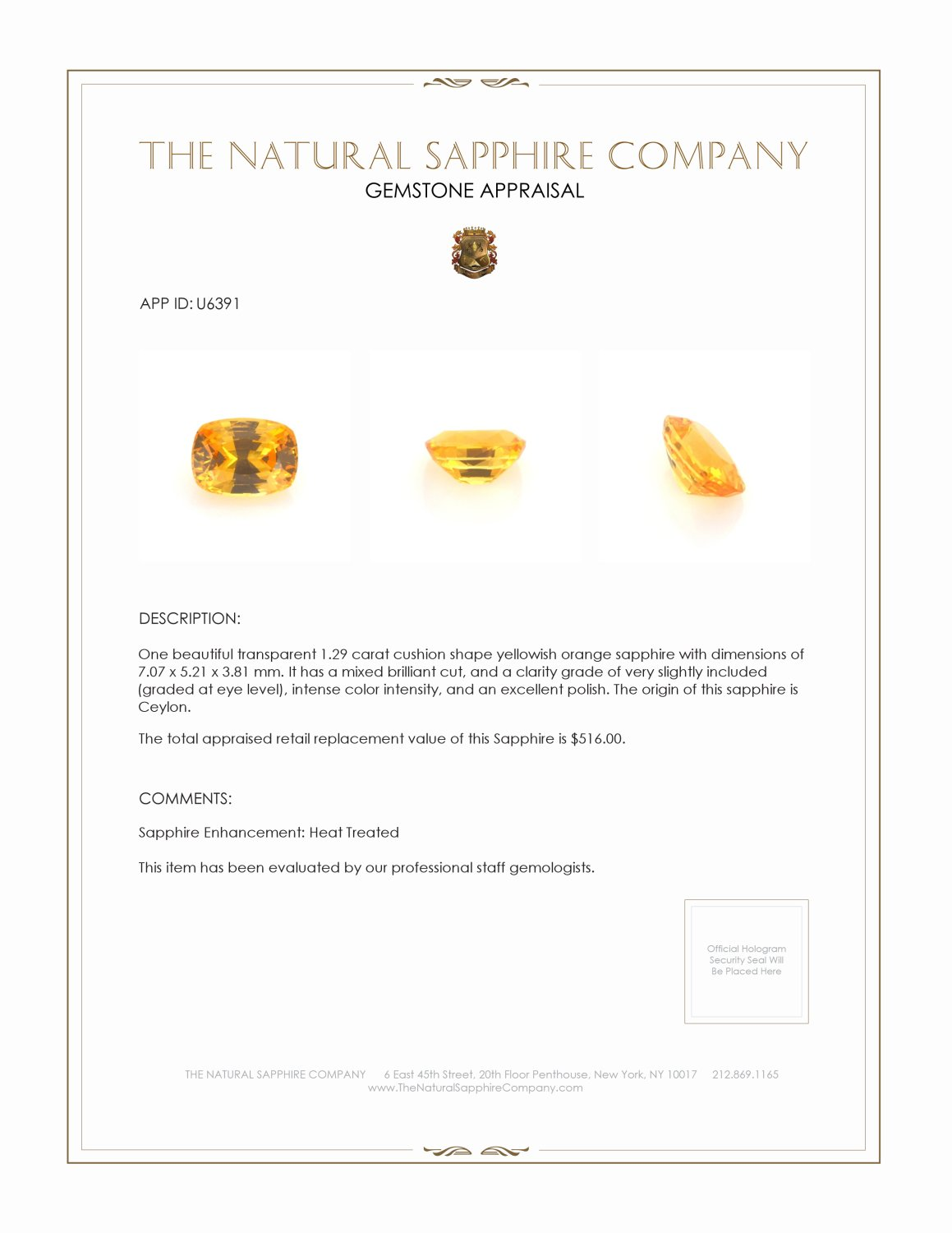 Natural Yellowish Orange Sapphire U6391 Certification 3
