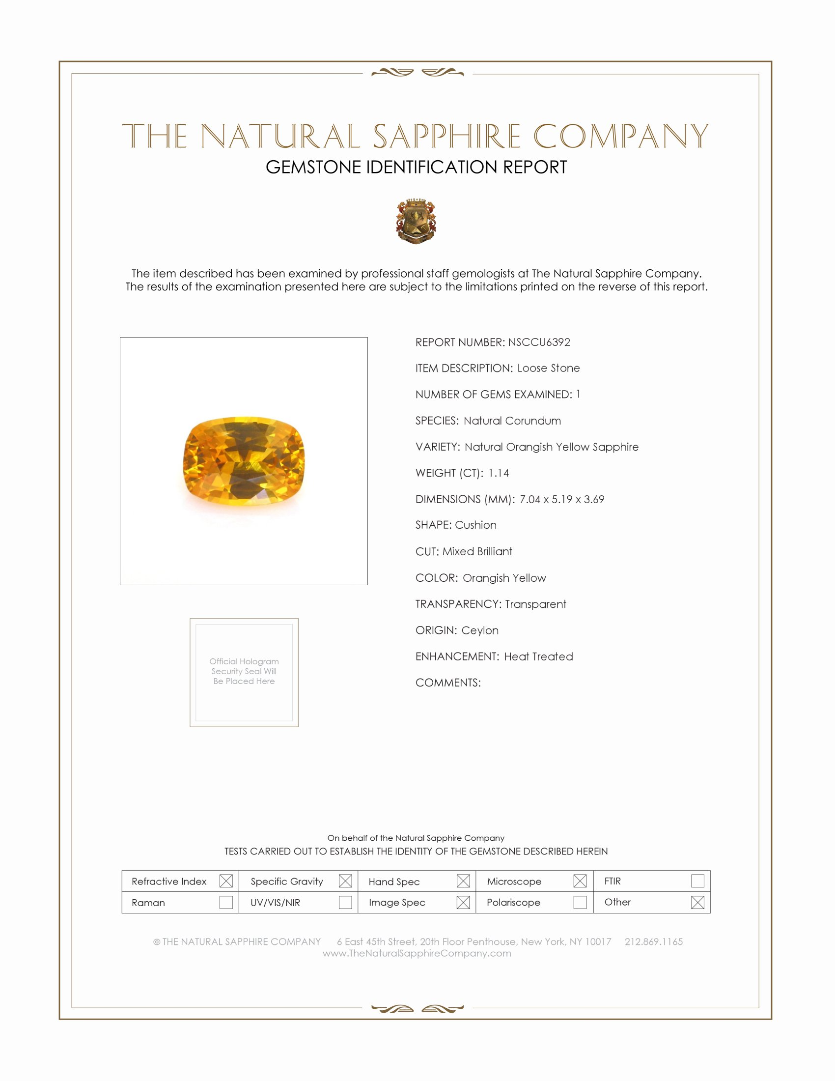Natural Orange Sapphire U6392 Certification