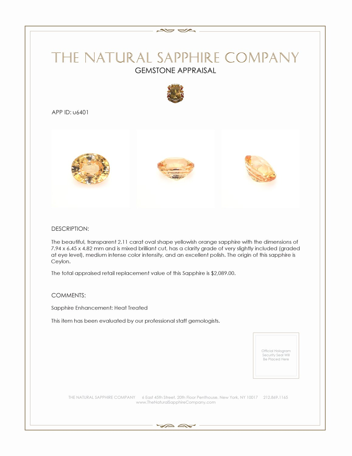 Natural Peach Sapphire U6401 Certification 3