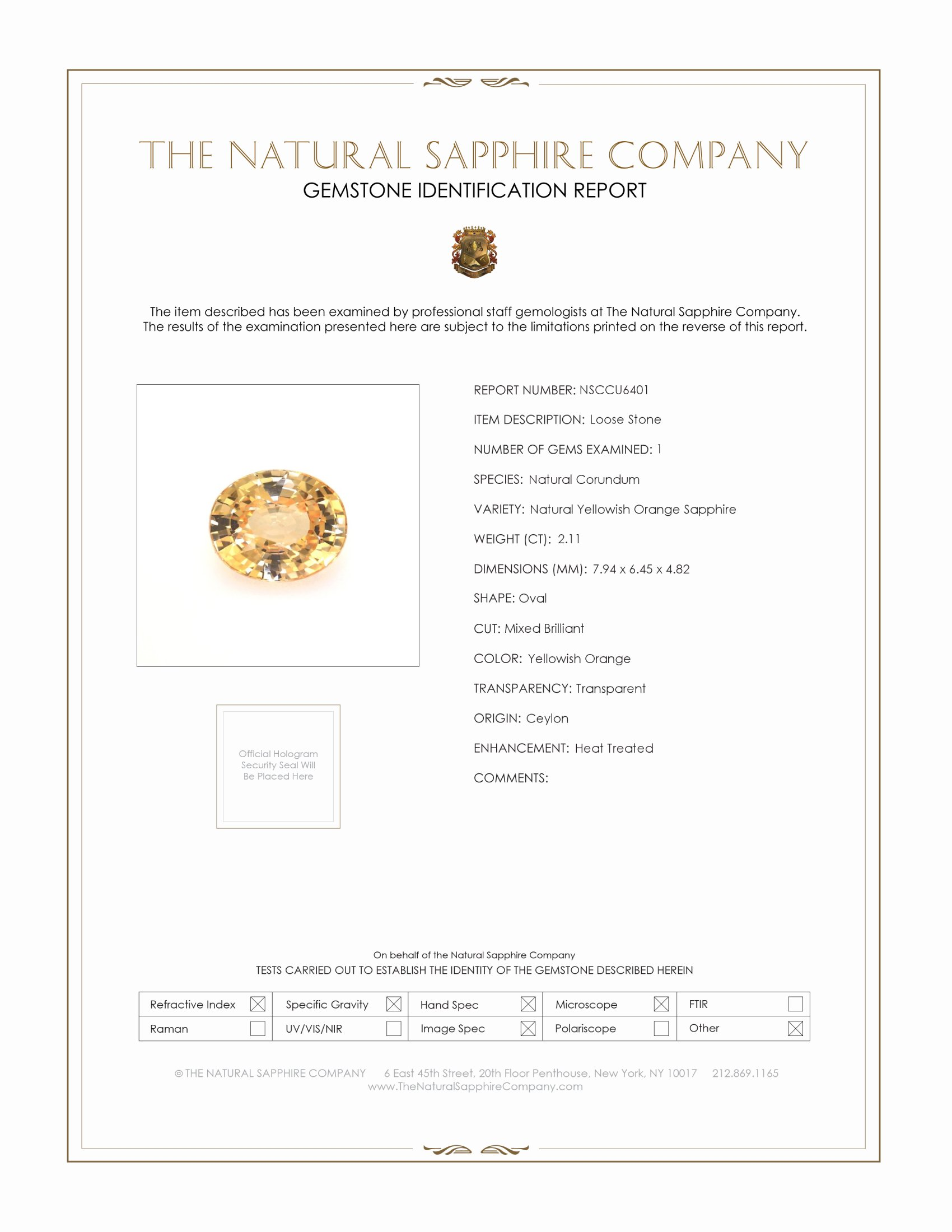 Natural Peach Sapphire U6401 Certification