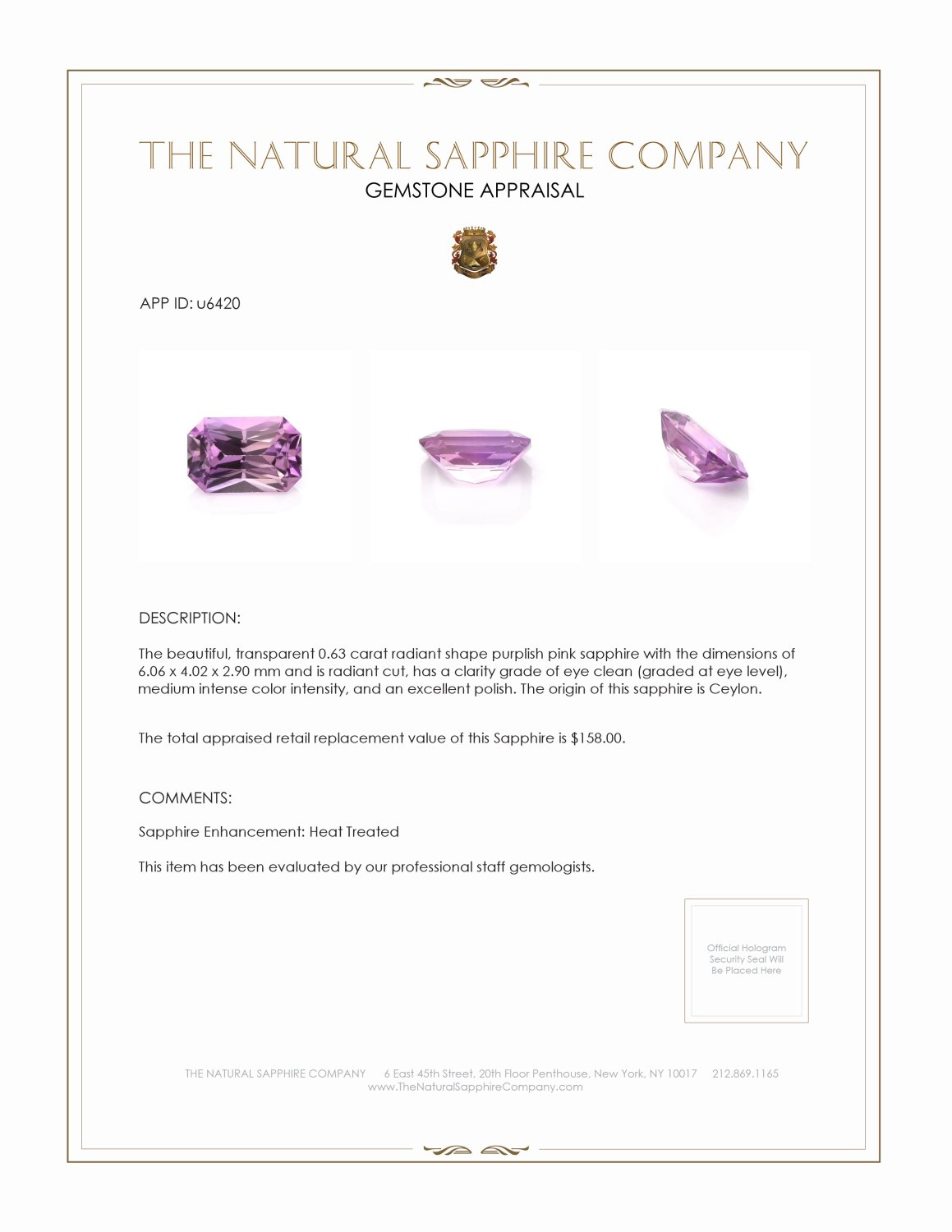Natural Purplish Pink Sapphire U6420 Certification 3