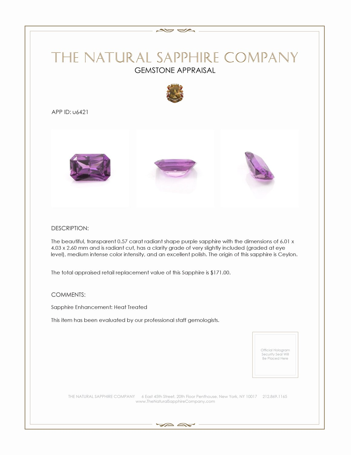 Natural Purple Sapphire U6421 Certification 3