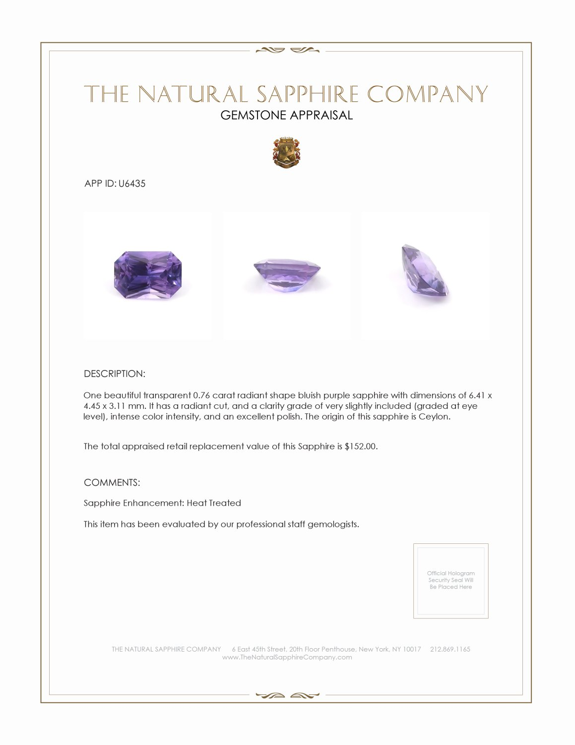 Natural Bluish Purple Sapphire U6435 Certification