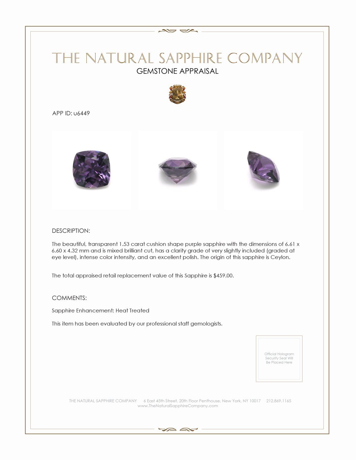 Natural Purple Sapphire U6449 Certification 3