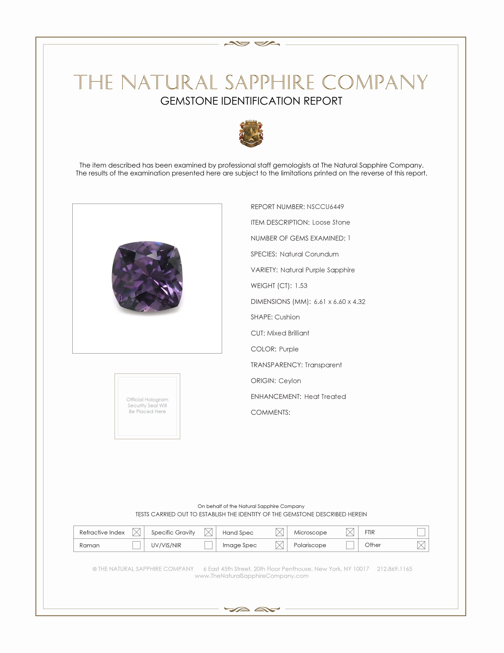 Natural Purple Sapphire U6449 Certification