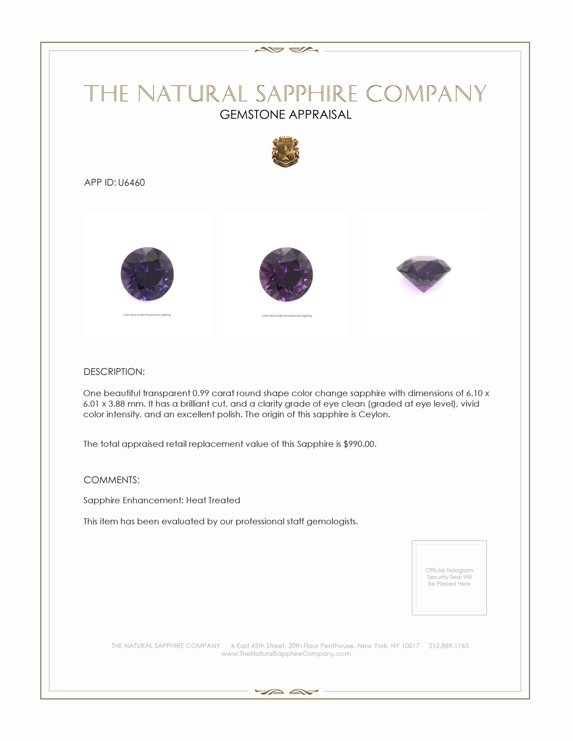 Natural Color-Change Sapphire U6460 Certification 3