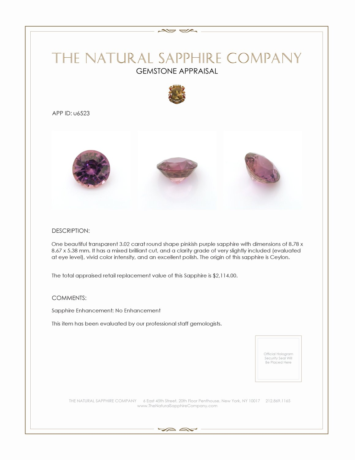 Natural Untreated Purple Sapphire U6523 Certification 3