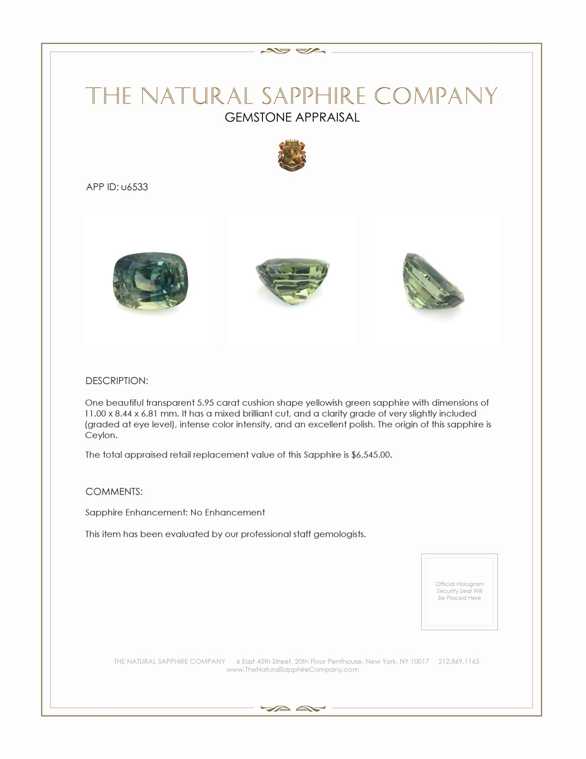 Natural Untreated Green Sapphire U6533 Certification 3