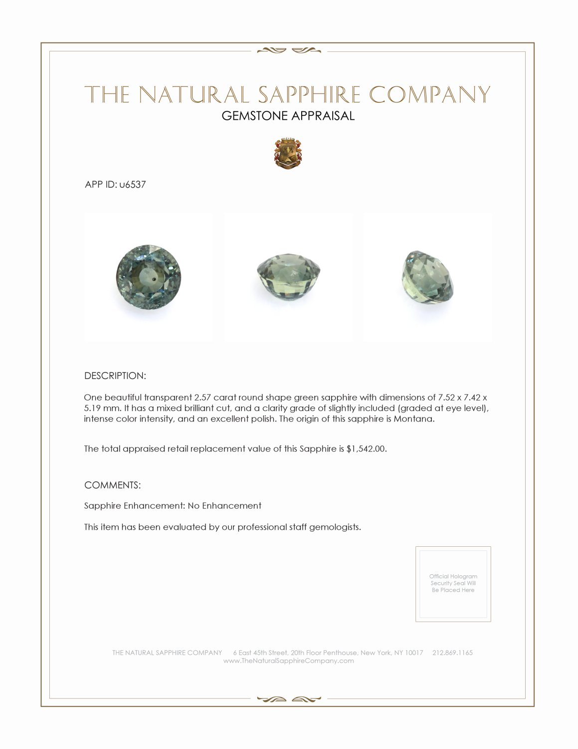 Natural Untreated Green Sapphire U6537 Certification 3
