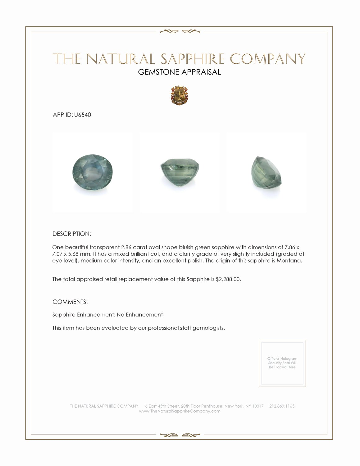 Natural Untreated Green Sapphire U6540 Certification 3