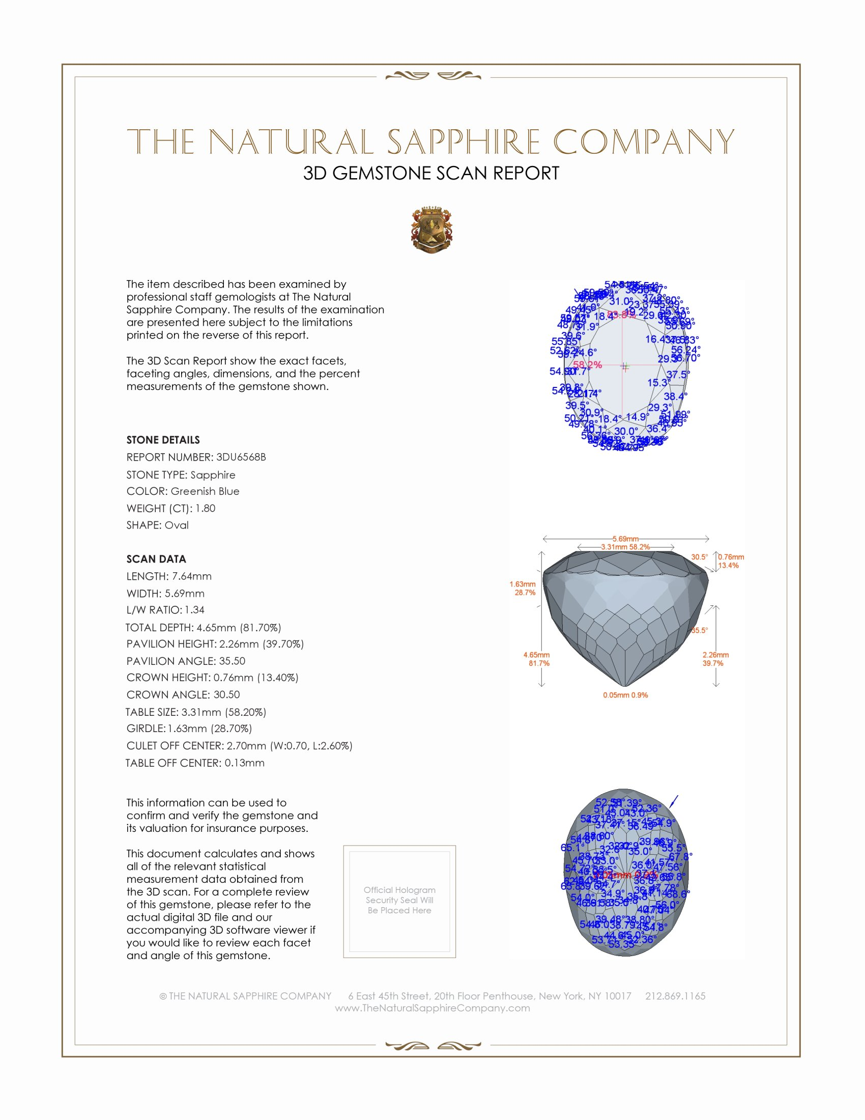 Natural Untreated Greenish Blue Sapphire U6568 Certification 2