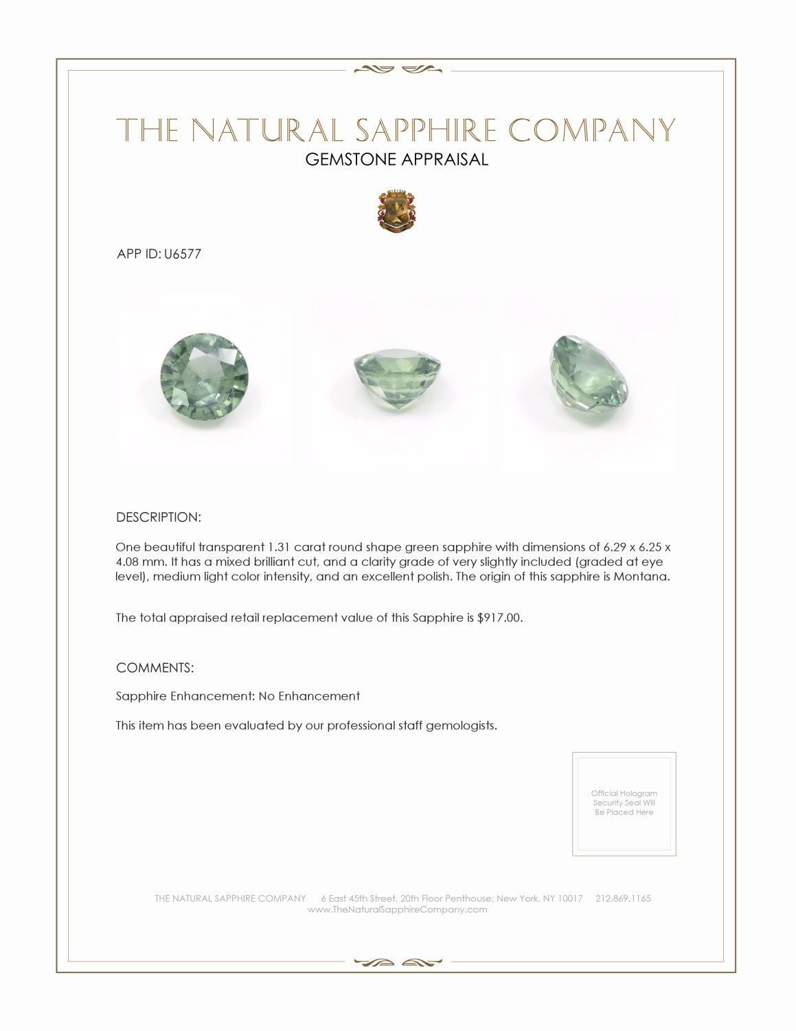 Natural Untreated Green Sapphire U6577 Certification 3