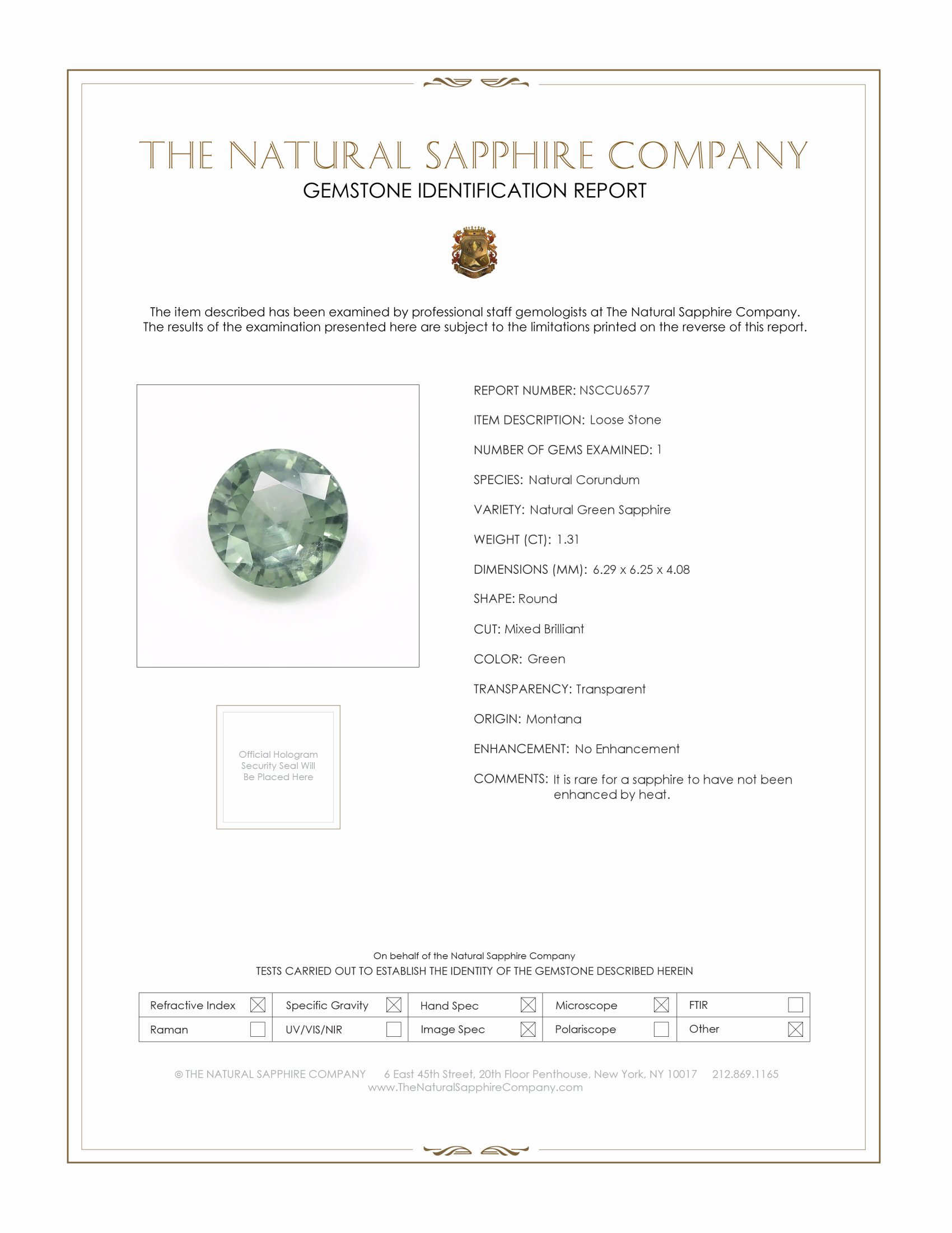 Natural Untreated Green Sapphire U6577 Certification