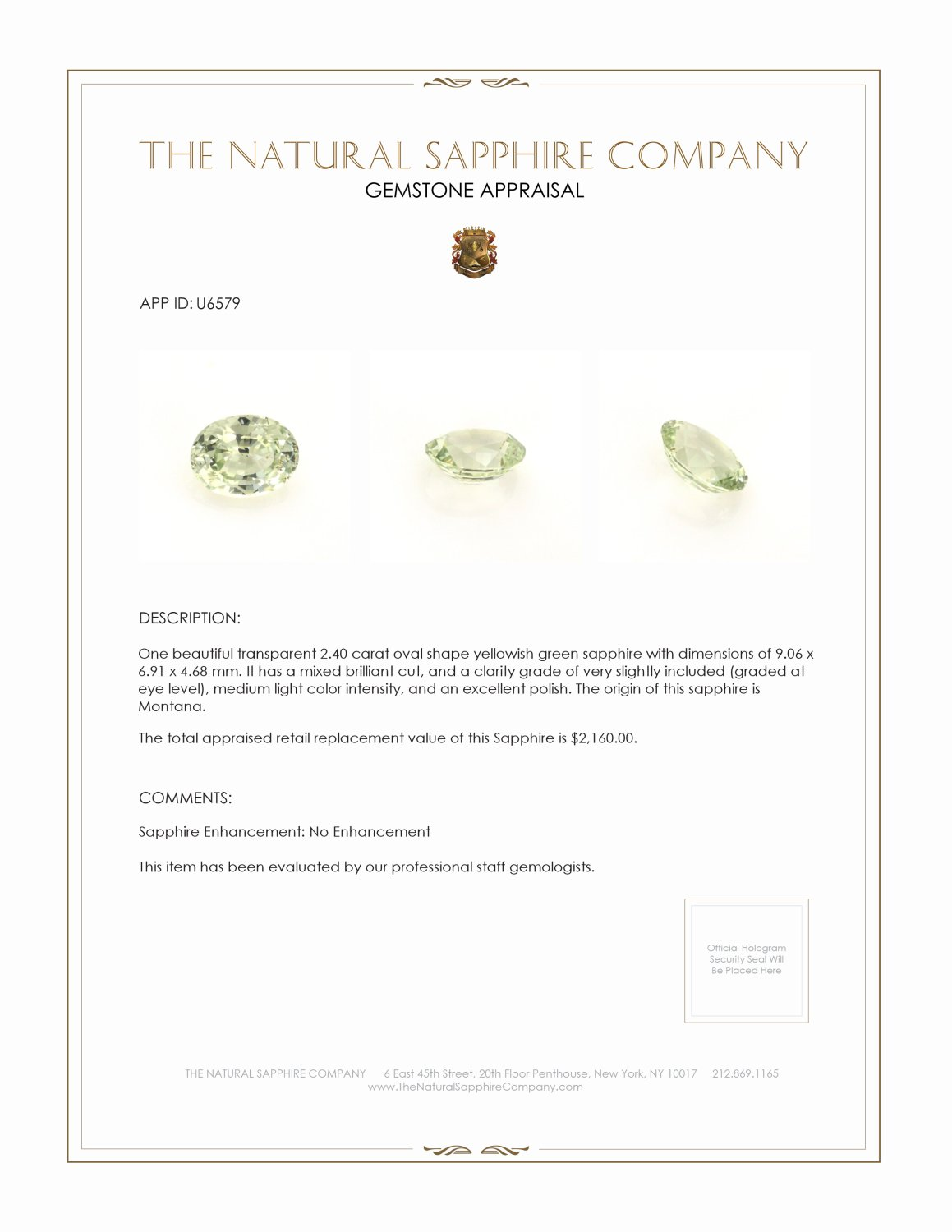 Natural Untreated Yellowish Green Sapphire U6579 Certification 3