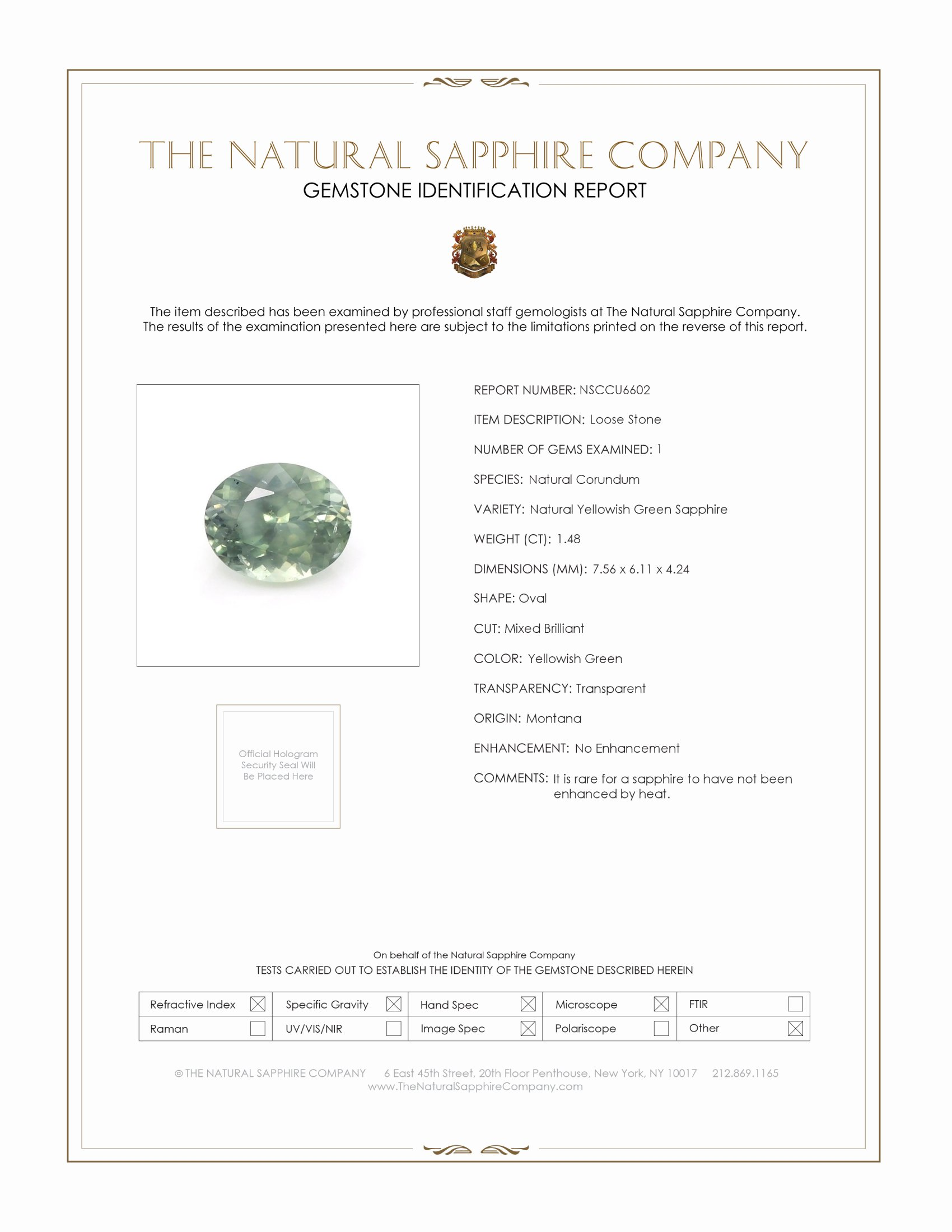 Natural Untreated Yellowish Green Sapphire U6602 Certification