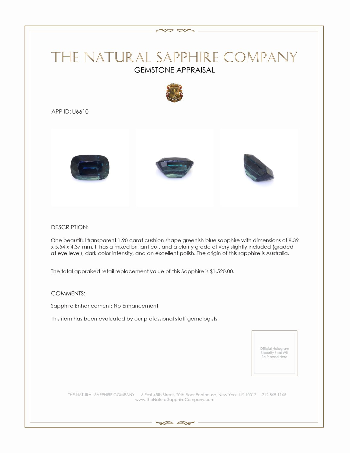 Natural Untreated Greenish Blue Sapphire U6610 Certification 3