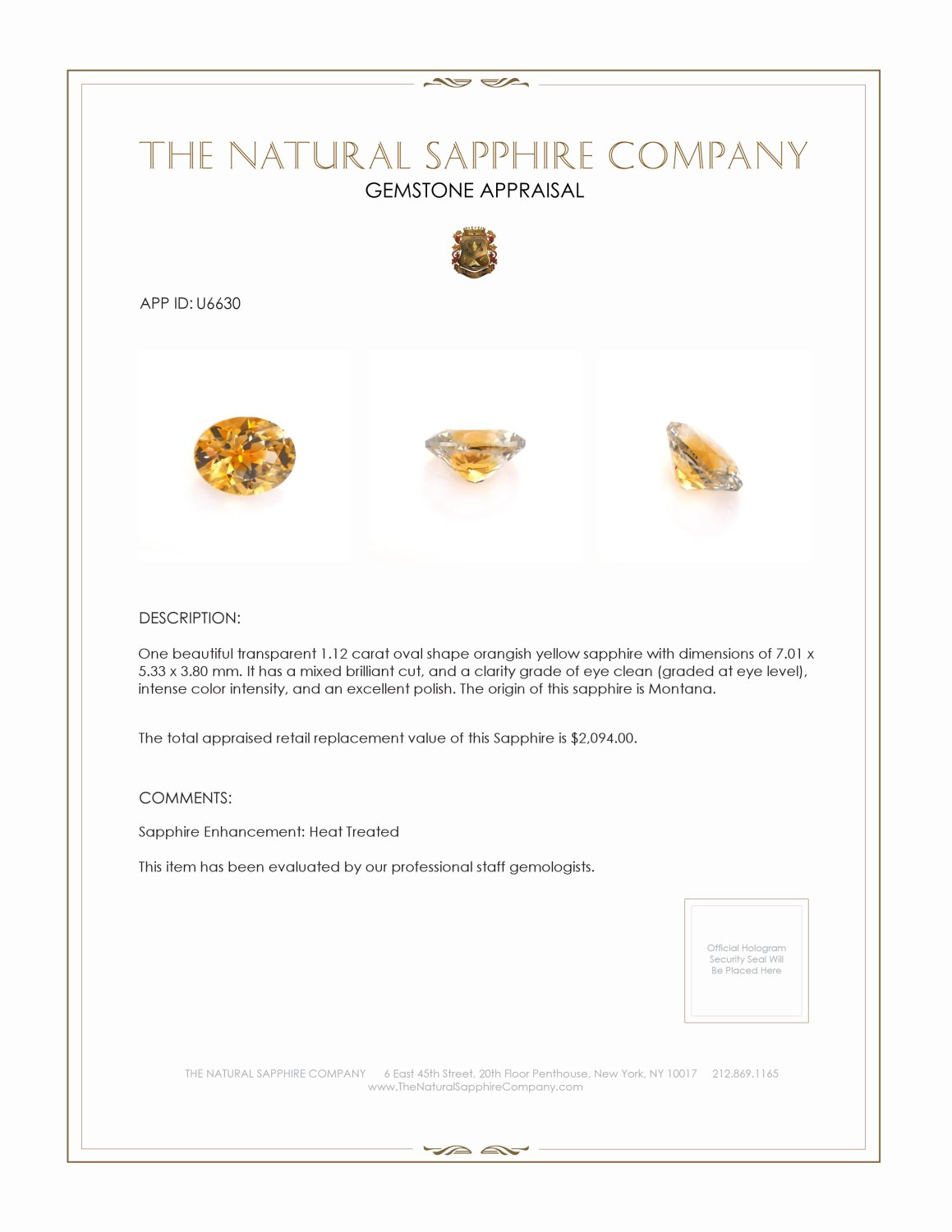 Natural Orangish Yellow Sapphire U6630 Certification 3