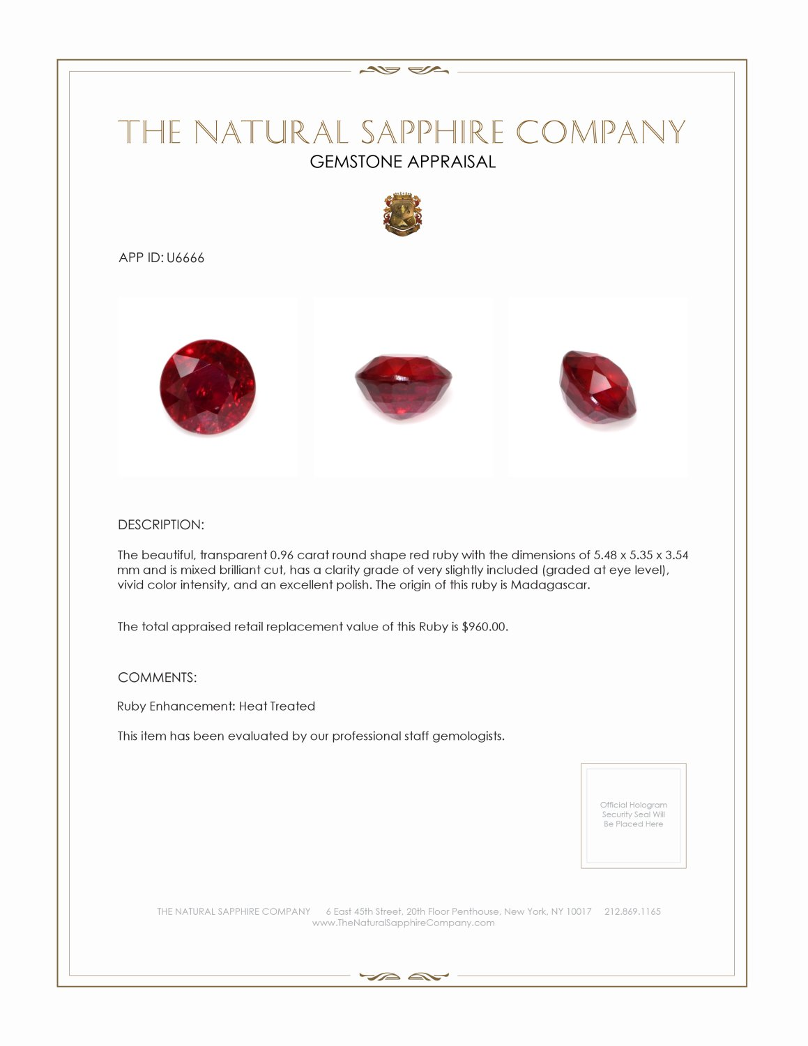 Natural Ruby U6666 Certification 3