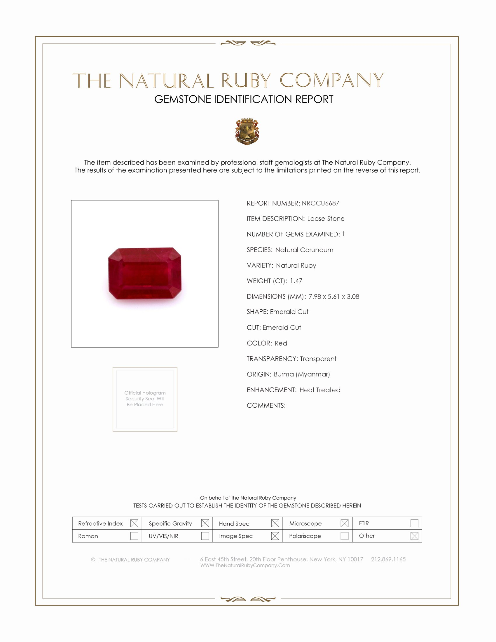 Natural Ruby U6687 Certification