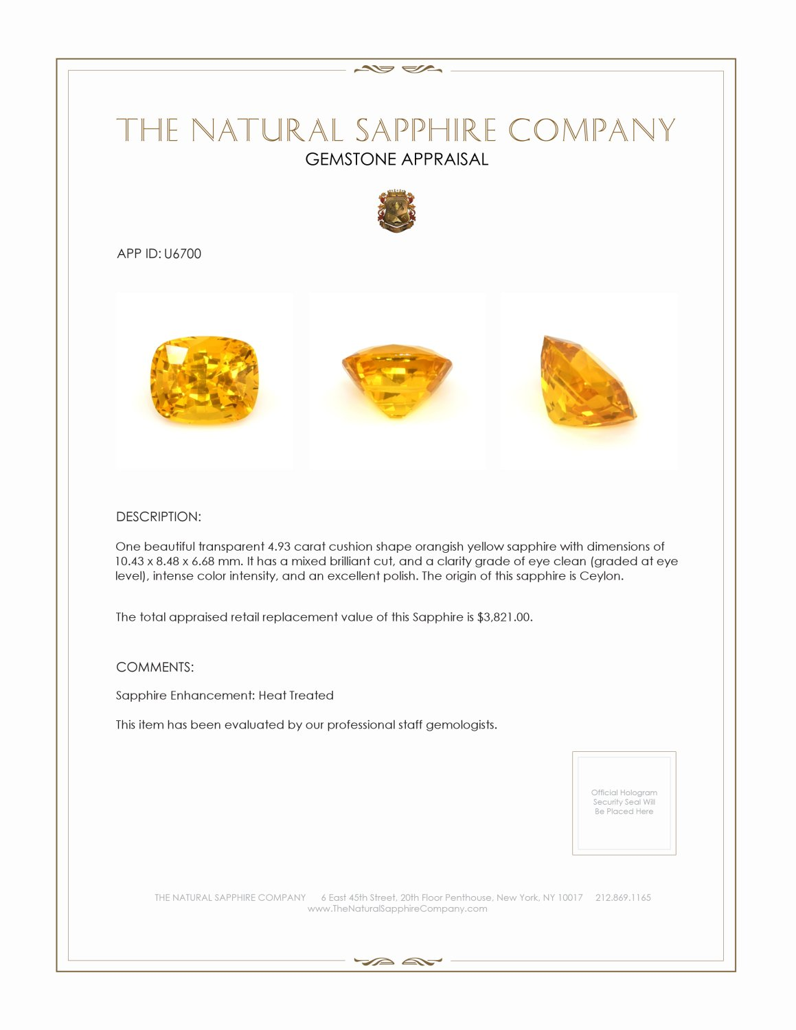 Natural Orange Sapphire U6700 Certification 3