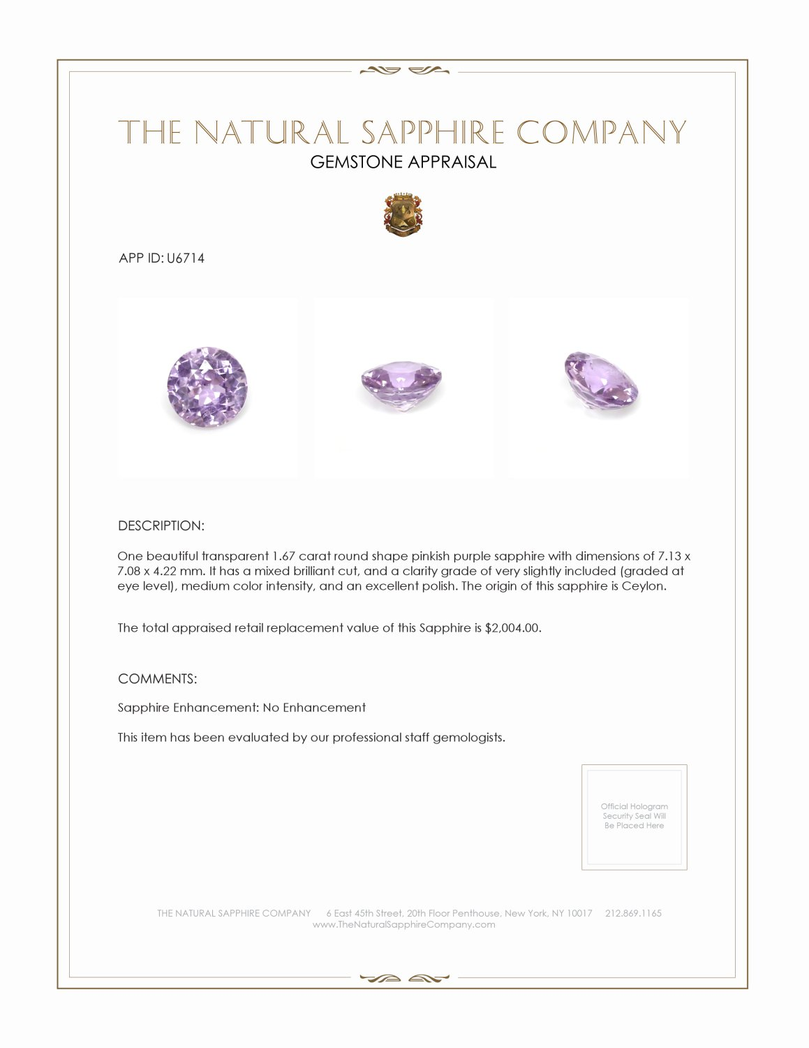 Natural Untreated Purple Sapphire U6714 Certification