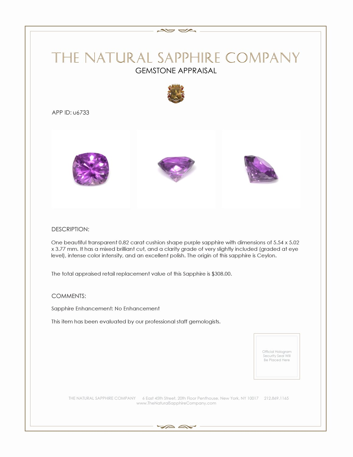 Natural Untreated Purple Sapphire U6733 Certification 3