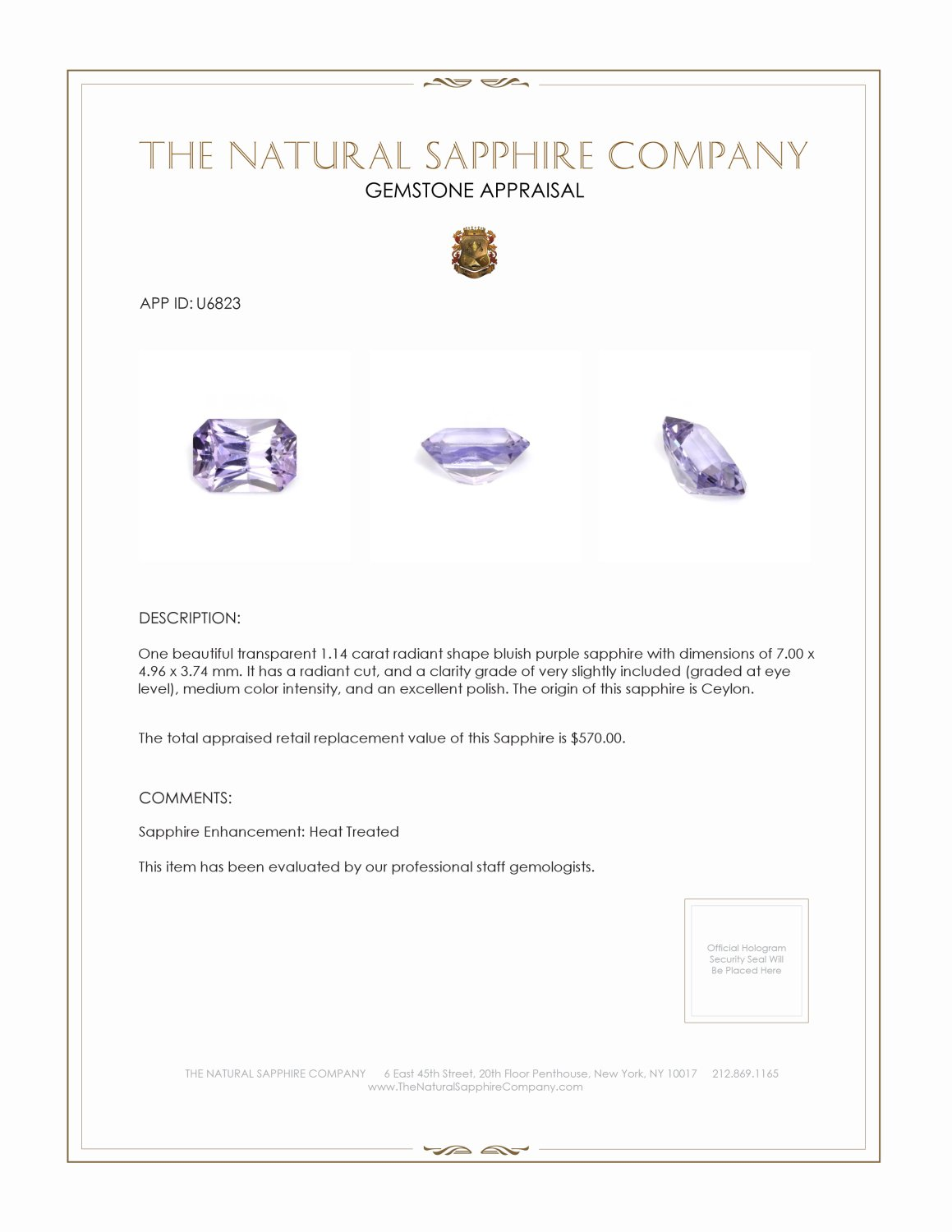 Natural Bluish Purple Sapphire U6823 Certification 3