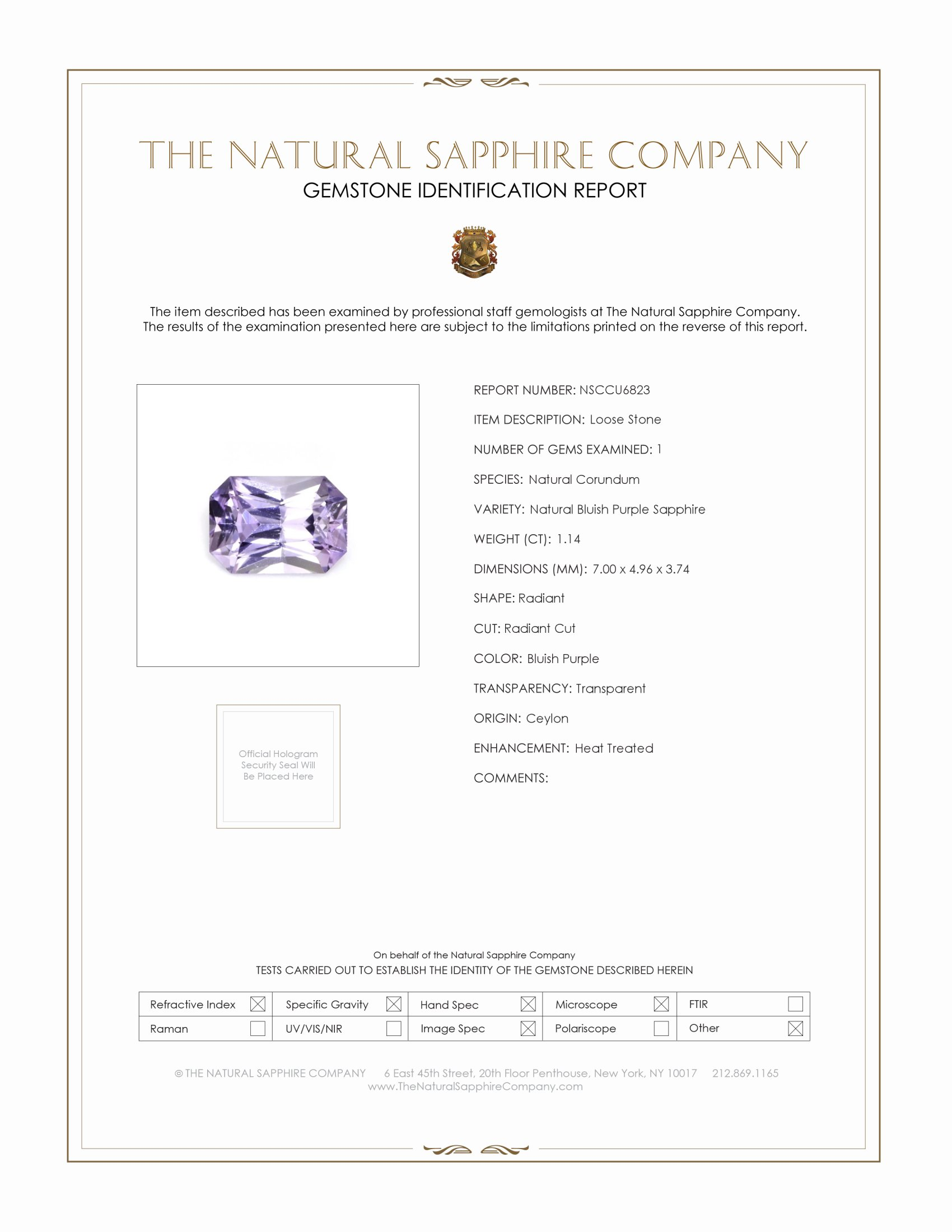 Natural Bluish Purple Sapphire U6823 Certification