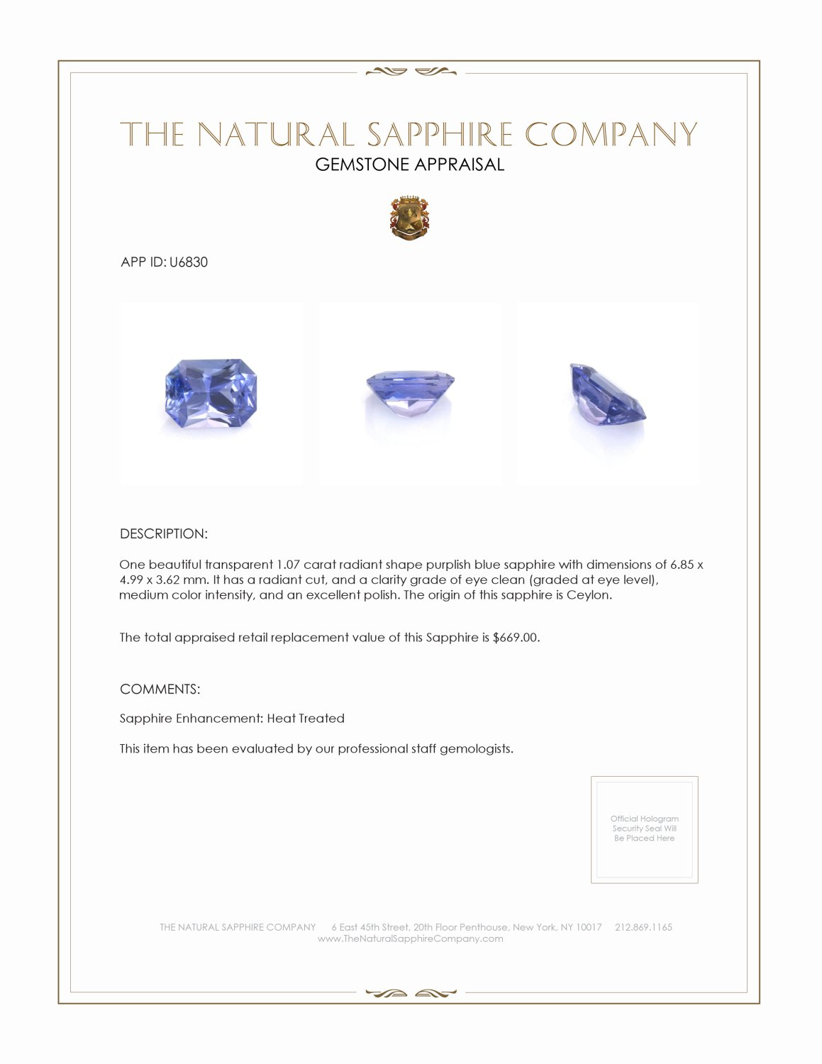 Natural Bluish Purple Sapphire U6830 Certification 3