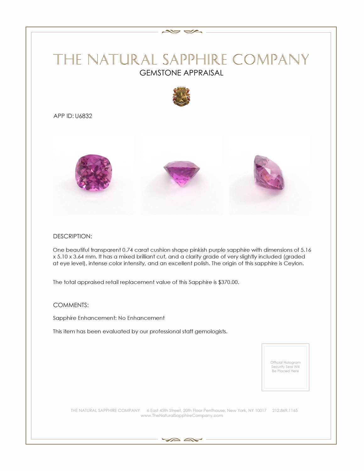 Natural Untreated Purplish Pink Sapphire U6832 Certification