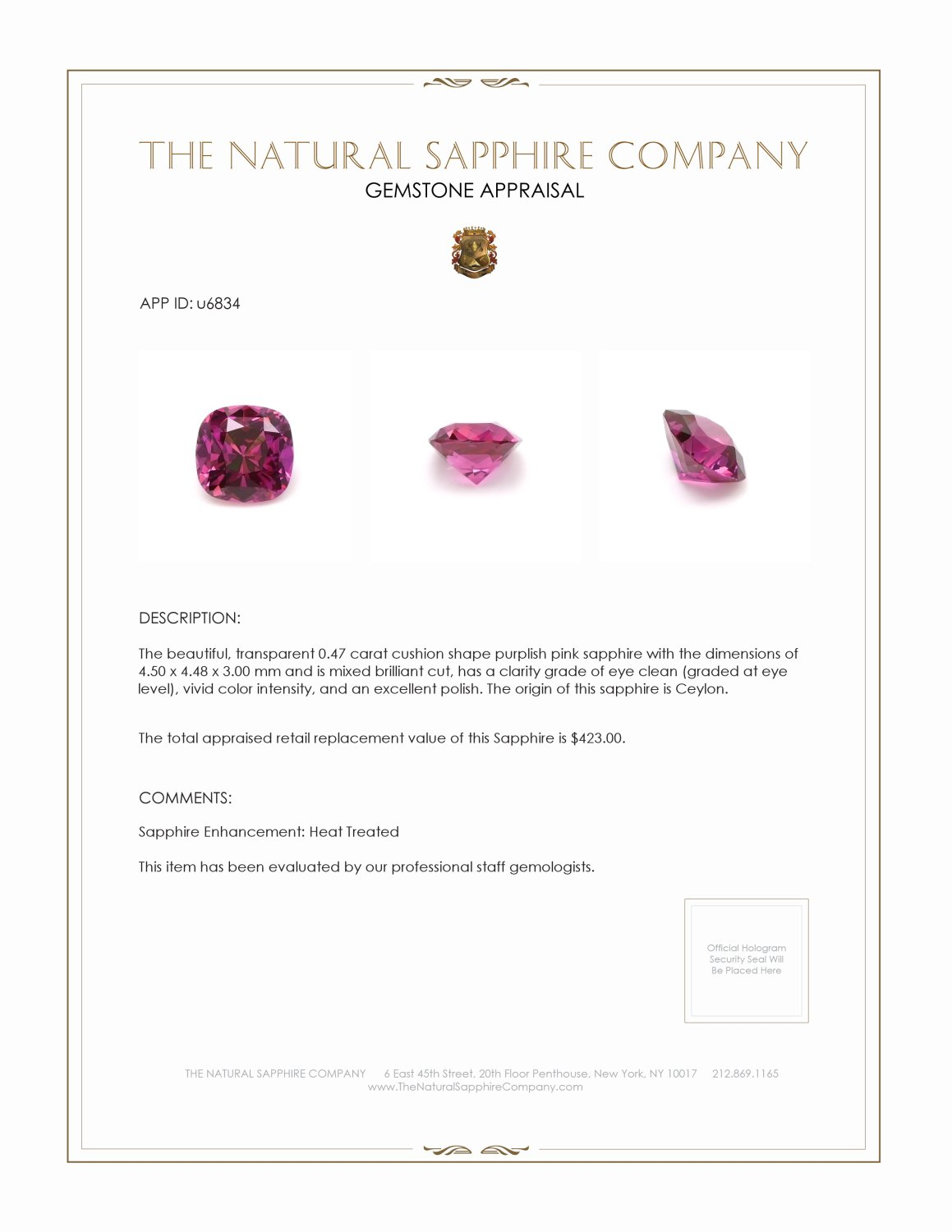 Natural Purplish Pink Sapphire U6834 Certification 3
